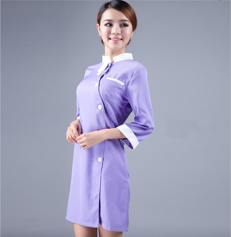 Ws735 half sleeve beauty salon uniform spa uniform for Spa uniform indonesia