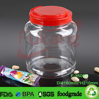 3.5L big plastic container with handle, transparent plastic pickle jar, empty wide mouth vegetable containers China