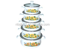 china manufactuary beautiful clean cookware in Korea enamel strait pot with flower decal