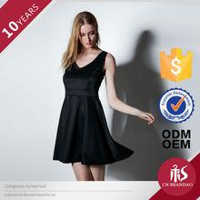 lady black pleated waist tight fit cotton basic dress