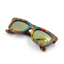 Colorful custom design sun glasses, candy wooden sunglasses