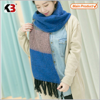 Durable style colorful stripe knitted twill scarf shawl wrap with tassel 2016