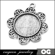 Wholesale antique silver Flower Shape Alloy Blank Tray Pendant Charms fit 25mm Cameo/ Cabochons