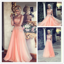 Elegant Nude Pink A-line Strapless Crystal Beaded Lace Formal Party Gown Flowing Chiffon Evening Dress Online Shopping