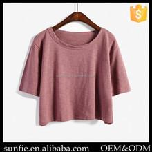 2015 new custom fashion loose plain crop tops wholesale women