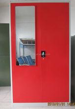 Waterproof Steel white shine furniture wardrobe clothes closet 2 locker with mirror and chrome pipe/pin code locker