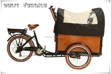 CE Danish bakfiets family 3 wheels trike scooter cargo bicycle tricycle with pedal sensor