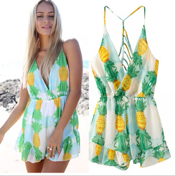 Fruits printed on white jumpsuit fashion strip sexy playsuit backless slim waist ladies african print jumpsuits