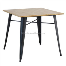 square rubber wood top dining industry metal table
