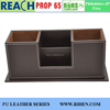 PU leather office desk leather multi function pen container pen holder with namecard holder