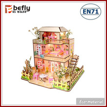 Small puzzle set romantic three layers wooden toy doll house
