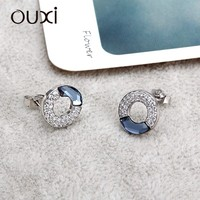 OUXI simple style blue crystal zircon colorful cheap crystal earring Y20120