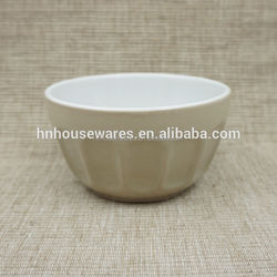 hot selling 4 inches embossed and two-color color glazed stoneware mini bowl in tableware