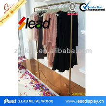 High quality double bar metal clothing racks for retail store fixtures
