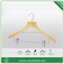 flat head wooden coat hanger, wooden coat hanger with metal pegs, thin shoulder wooden coat hanger