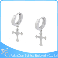 Cross stainless steel hoop earring, cross drop earrings, surgical steel dangle earrings
