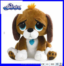 """Best Selling 8""""cool plush big eye dog with heart shape necklace"""
