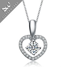 925 silver heart necklac with large stone,silver heart pendant necklac