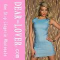 skintight elegante vestido de jeans azul claro mini vestido