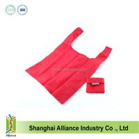 Durable Polyester folding shopping bag, T-shirt shape foldable shopper