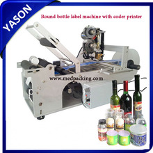 Semi-automatic labeling machine with date code printer for round bottle labeling machine,small label printing machine