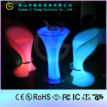 Hot Selling High Quality Beautiful And Leisure Glow Bar Furniture For Color Changeable LED Bar Flashing High Table And Chair