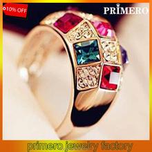 PRIMERO Latest Fashion Imitation Diamond Austrian Crystal Symphony luxury Noble Ring Female Models gold engagement rings