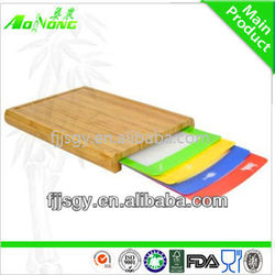 2015 bamboo cutting board with removable plastic mats