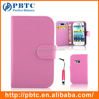 Set Screen Protector Stylus And Case For Samsung Galaxy Young S6310 , Pink Leather Wallet Magnetic Phone Case