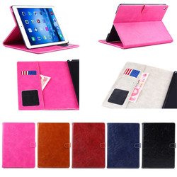 Luxury Folio Oil Wax Leather Magnetic Stand Phone Case for iPad Air 2,Leather Cover for iPad Air 2