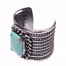 fashion big turquoise diamond inlaid iron bangle bracelet arm cuff