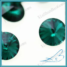 Hot Sale Round Cut Green Satellite Crystallized Glass Stone Foil Backed