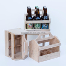 Custom unfinished wooden carriers 6 bottles beer carrier pine wood beer tote