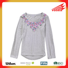 Vosea women Embroidered cotton round neck long-sleeved popular T-shirt