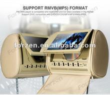 Automobiles 9 inch car dvd headrest monitor with leather zipper,USB,SD,FM,IR audio