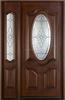 Mahogany solid wood door with sidelite, art glass insert