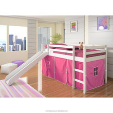 Kids White Twin Loft Tent Bed with Slide