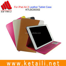 For iPad Air 2 OEM Design Genuine Leather Standable Multi-Function Tablet Cover