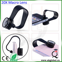 high power microscope 20x macro lens with clip mounts for mobile phone