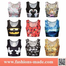 2015 New Fashion Summer Printed Women Sexy Crop Top Sleeveless Wholesale