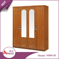 W984-28 foshan cheap modern large bedroom clothes 4 door mirrored wood wardrobe armoires with drawers
