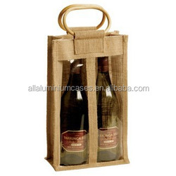 2015hot sell strong jute wine bag/eco hand canvas cotton shopping bag