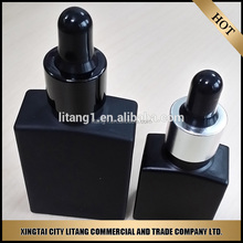 wholesale 30ml glass frosted dropper bottles empty black glass bottles with childproof and tamper evident cap for eliquid