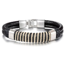 Punk Unisex Women Men Wristband Metal Studded Surfer Real Leather Bracelet Best Gifts