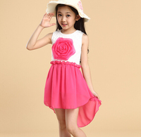 d46009a 2015 children's clothing short front long back flower girl dress