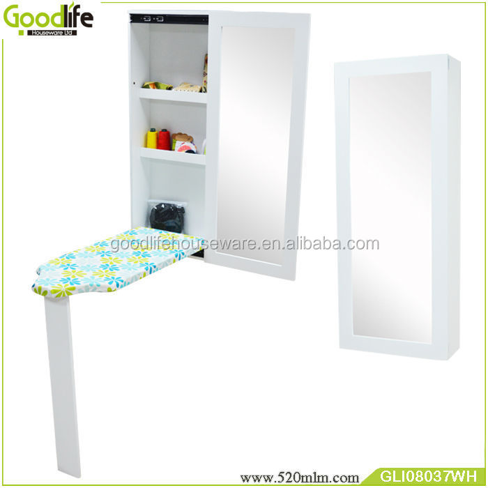 GLI08037Wall mount ironing board with mirror Cabinet
