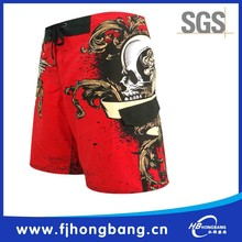 100% polyester skull printed lycra men swim shorts