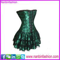 2015 new autumm green overbust corsets long corset dress