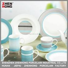 Super White Ceramic Fine Porcelain Dinner Set with Golden Design