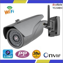 CE approved best price 1080p p2p wifi ip camera onvif bullet design in stock for outdoor use
